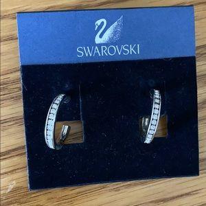 Swarovski silver hoop pierced earrings